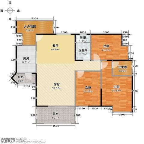 礼顿山1号3室1厅2卫1厨123.00㎡户型图