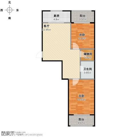 金湾山城2室1厅1卫1厨88.00㎡户型图