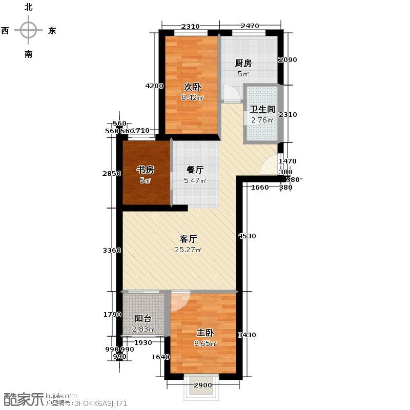 上上城青年社区二期66.26㎡G-4-1户型3室1厅1卫1厨