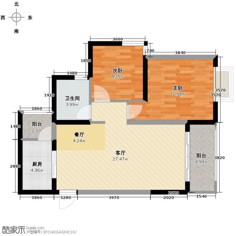 恒通御景天都66.20㎡二期6号楼1号房户型2室1厅1卫1厨