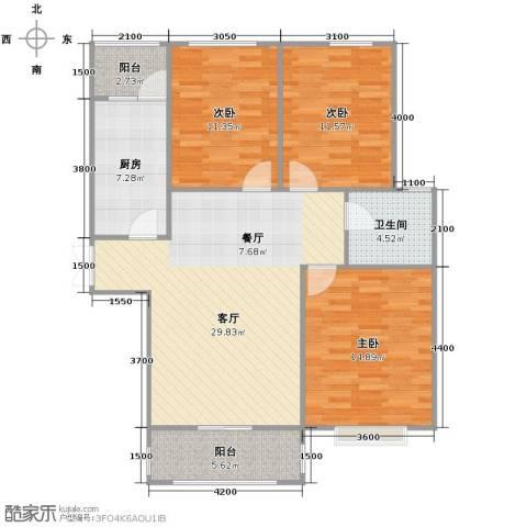龙泽国际3室1厅1卫1厨105.00㎡户型图