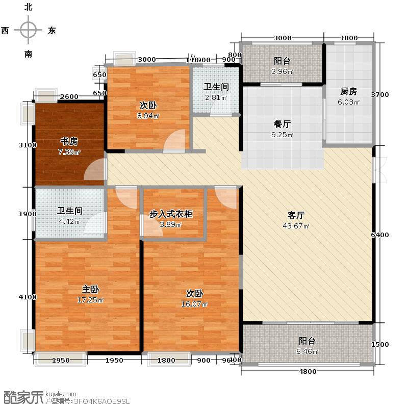 宏泰世纪滨江160.58㎡J1户型3室2厅2卫