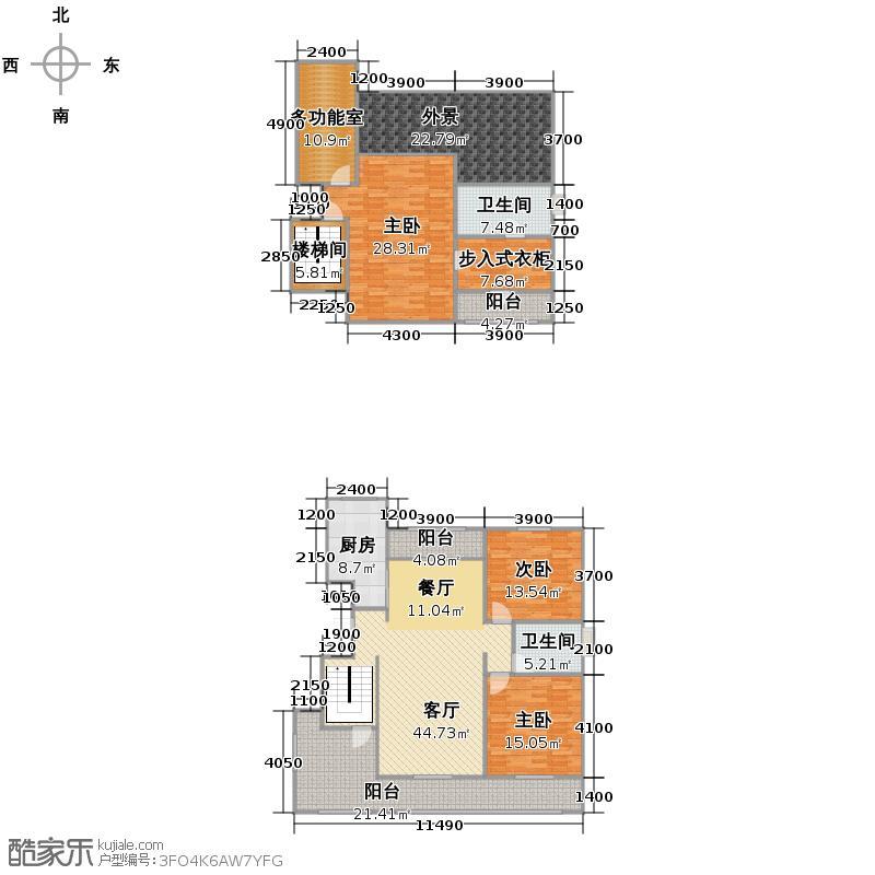 华远海蓝城178.00㎡顶跃边户簇景画境户型3室2厅2卫