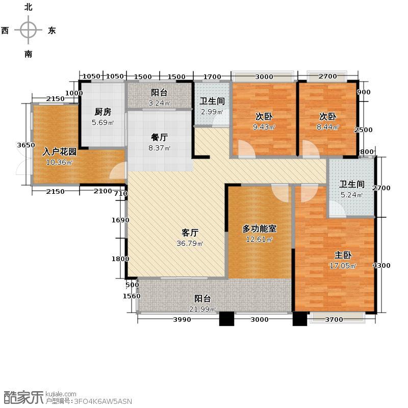 金色夏威夷124.00㎡B2户型3室2厅2卫
