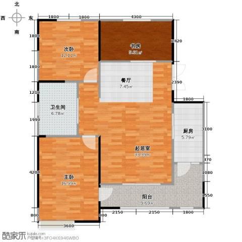 卓达・太阳城3室2厅2卫0厨122.00㎡户型图