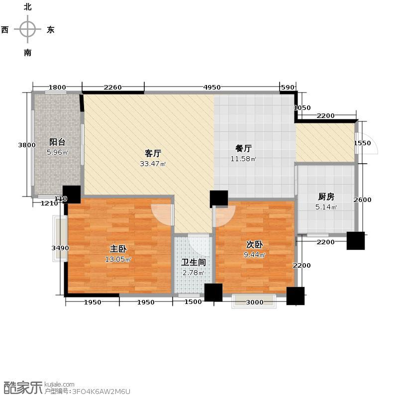 振宁现代鲁班83.96㎡户型2室1厅1卫1厨