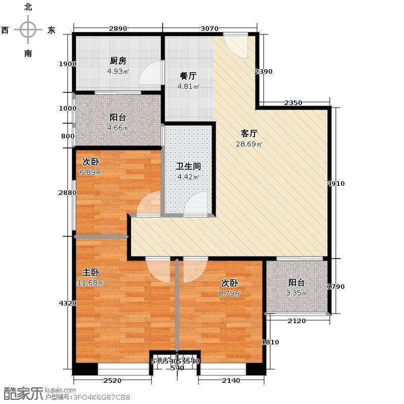汇通太古城94.13㎡6号地B2户型3室2厅1卫