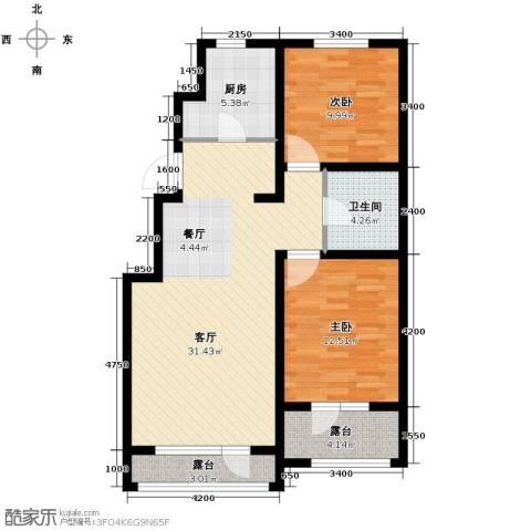 万科蓝山2室1厅1卫1厨90.00㎡户型图