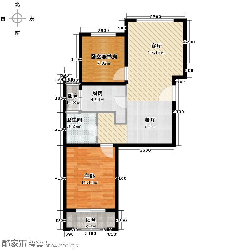合肥合作经济广场85.16㎡户型2室2厅1卫