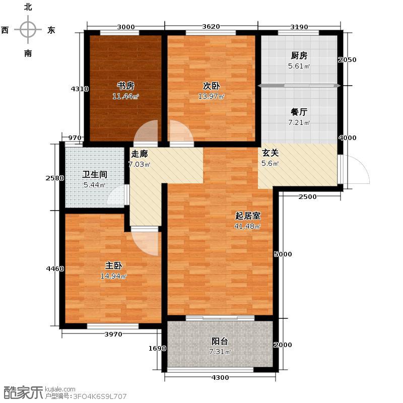 中国铁建・明山秀水112.05㎡户型3室2厅1卫