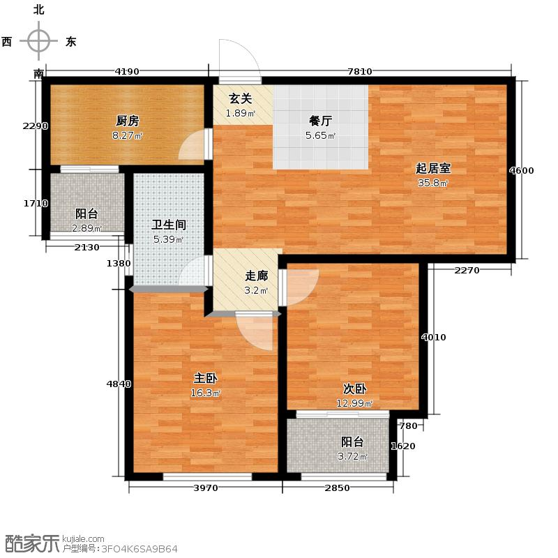 中国铁建・明山秀水100.43㎡户型2室2厅1卫