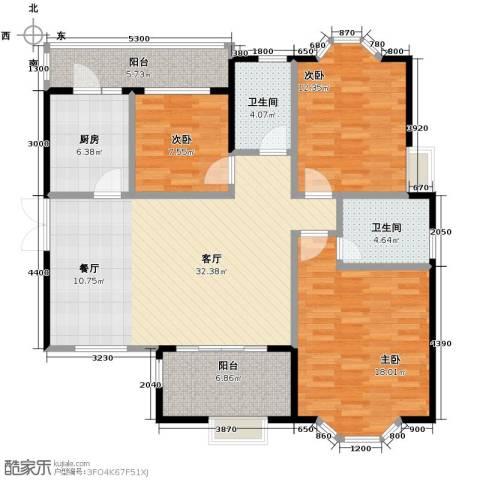 中环岛3室2厅2卫0厨109.20㎡户型图