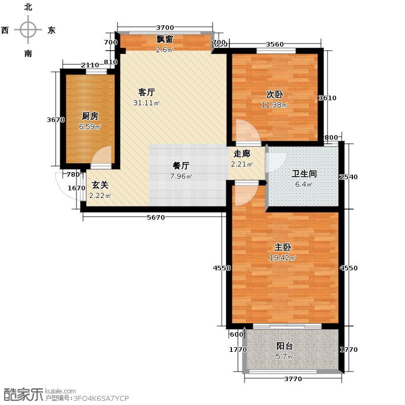 中国铁建・明山秀水94.00㎡户型2室2厅1卫