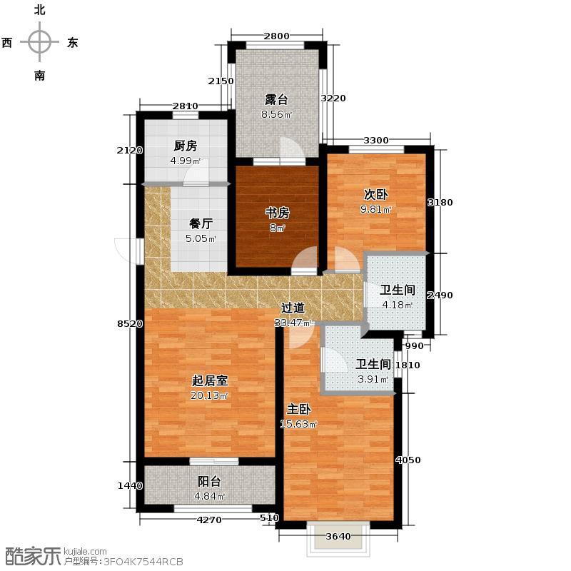 富立秦皇半岛124.48㎡高层户型3室2厅2卫