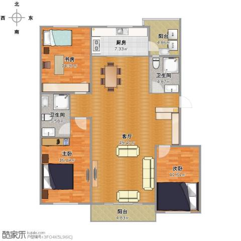 巴黎经典花园3室1厅2卫1厨127.00㎡户型图