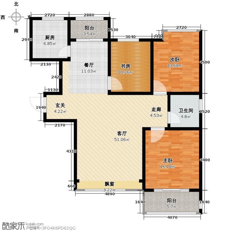 中国铁建・明山秀水126.51㎡E户型3室2厅1卫