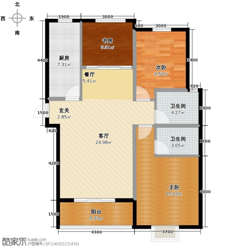五洲国际官邸92.15㎡户型3室2厅2卫