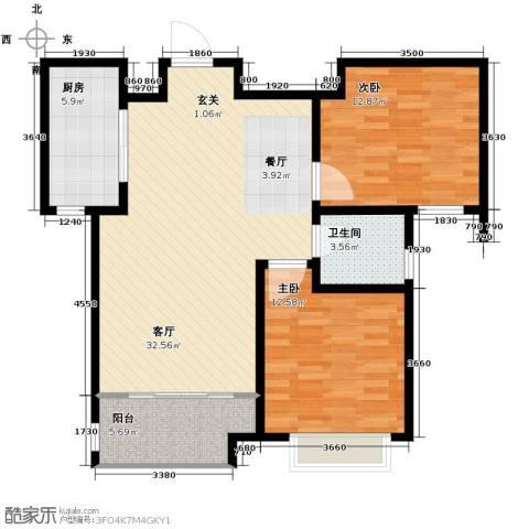 中国铁建・明山秀水2室2厅1卫0厨90.00㎡户型图