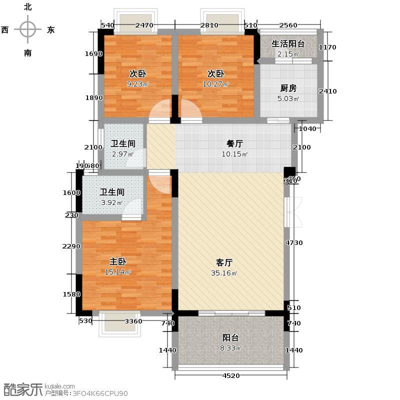 海宇西湖山水112.00㎡一期1-3、5-7栋标准层F3-02户型3室2厅2卫
