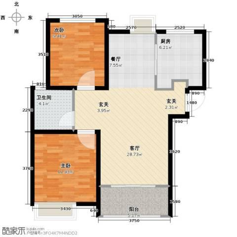中国铁建・明山秀水2室2厅1卫0厨92.00㎡户型图