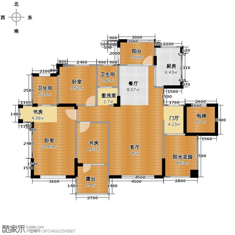 九洲湾景汇137.06㎡洋房户型1室1厅2卫1厨