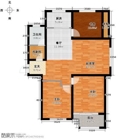 中国铁建・明山秀水3室2厅1卫0厨140.00㎡户型图