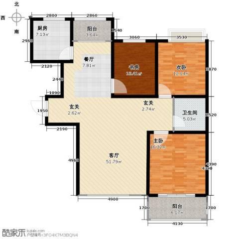 中国铁建・明山秀水3室2厅1卫0厨127.00㎡户型图