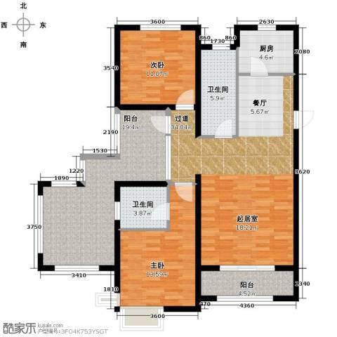富立秦皇半岛2室2厅2卫0厨117.00㎡户型图