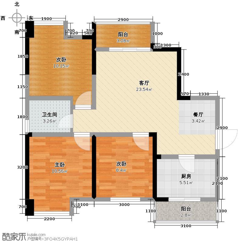 华西雅筑93.00㎡1号楼E户型3室1厅1卫1厨