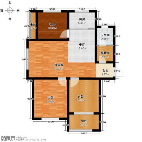 中国铁建・明山秀水3室2厅1卫0厨115.00㎡户型图
