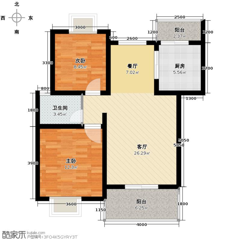 杜鹃城74.59㎡二期B标准层户型2室2厅1卫