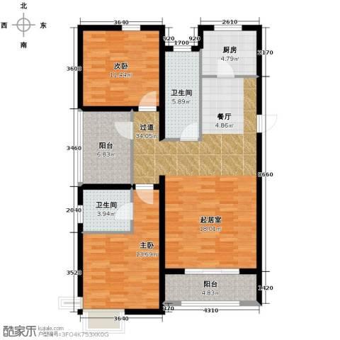富立秦皇半岛2室2厅2卫0厨119.00㎡户型图