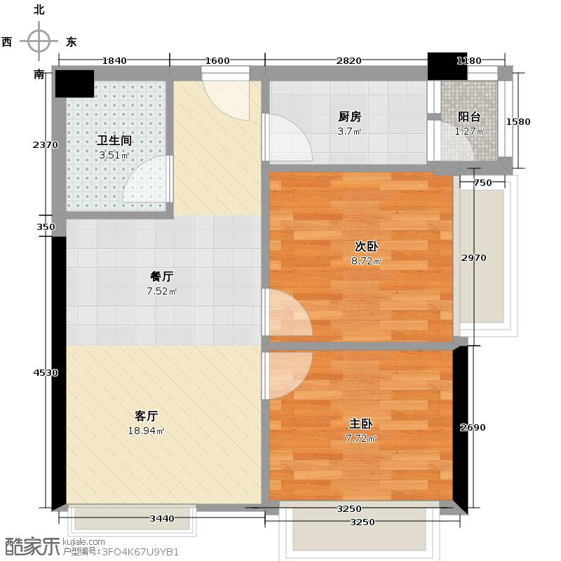 信地城市广场69.00㎡B3户型2室2厅1卫