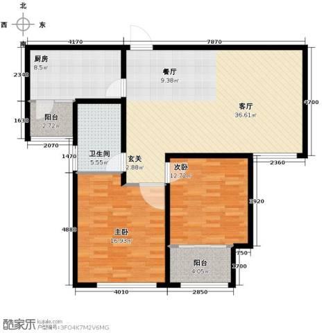 中国铁建・明山秀水2室2厅1卫0厨100.00㎡户型图