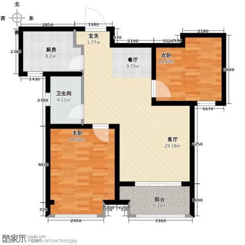 中国铁建・明山秀水2室2厅1卫0厨84.00㎡户型图