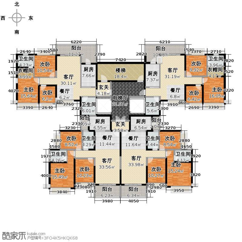 恒大城127.01㎡2期望湖在售21号楼楼层平面户型9室4厅8卫4厨