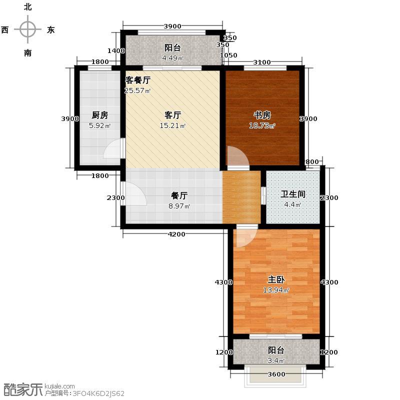 合肥合作经济广场91.54㎡户型2室2厅1卫