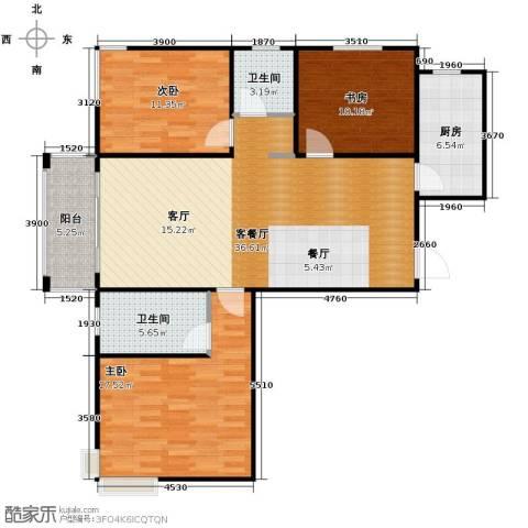 广泰瑞景城3室2厅2卫0厨129.00㎡户型图