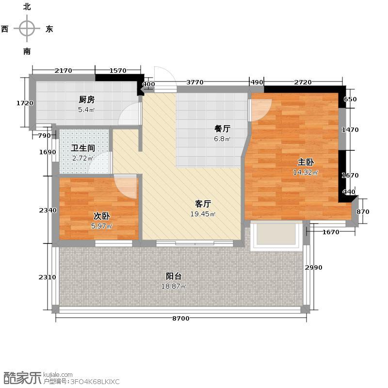 信地城市广场68.00㎡户型2室2厅1卫