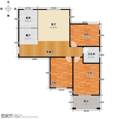广泰瑞景城3室2厅1卫0厨141.00㎡户型图