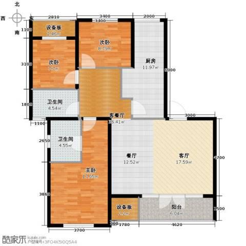 季景华庭3室2厅2卫0厨135.00㎡户型图
