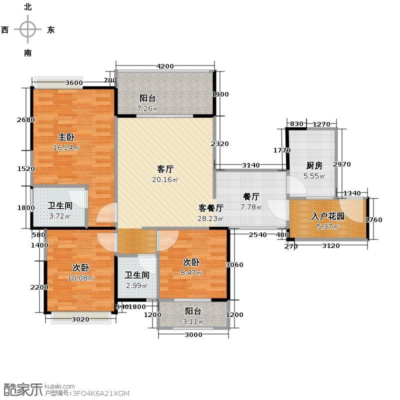 青城外滩99.00㎡G1户型3室1厅2卫1厨