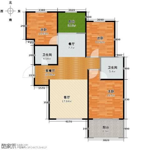 广泰瑞景城3室2厅2卫0厨133.00㎡户型图