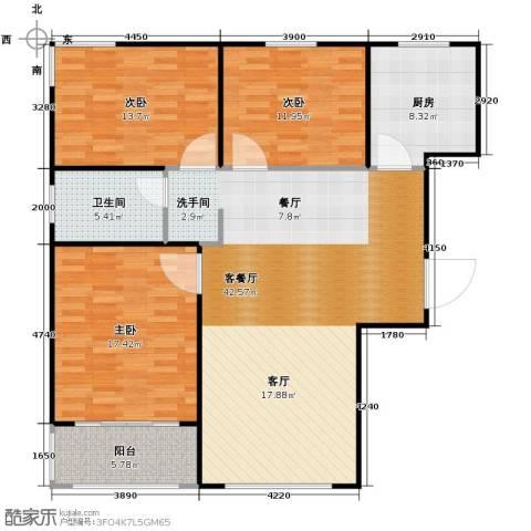 广泰瑞景城3室2厅1卫0厨140.00㎡户型图