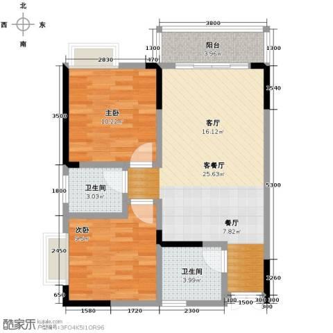 华宇・秋水长天2室1厅2卫0厨80.00㎡户型图