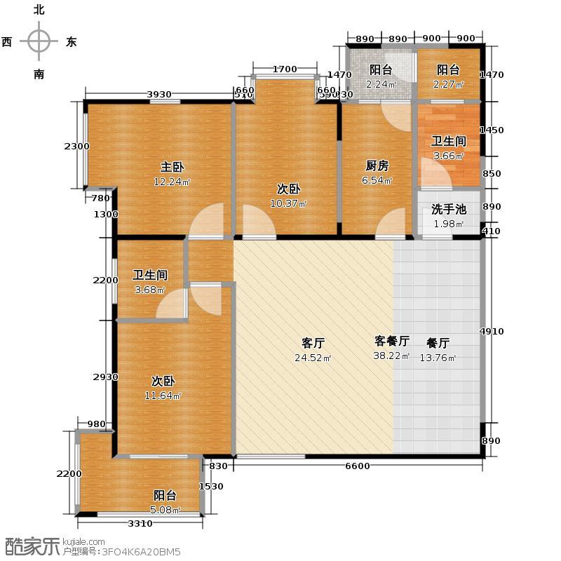 卡布奇诺国际社区121.95㎡B1户型3室2厅2卫