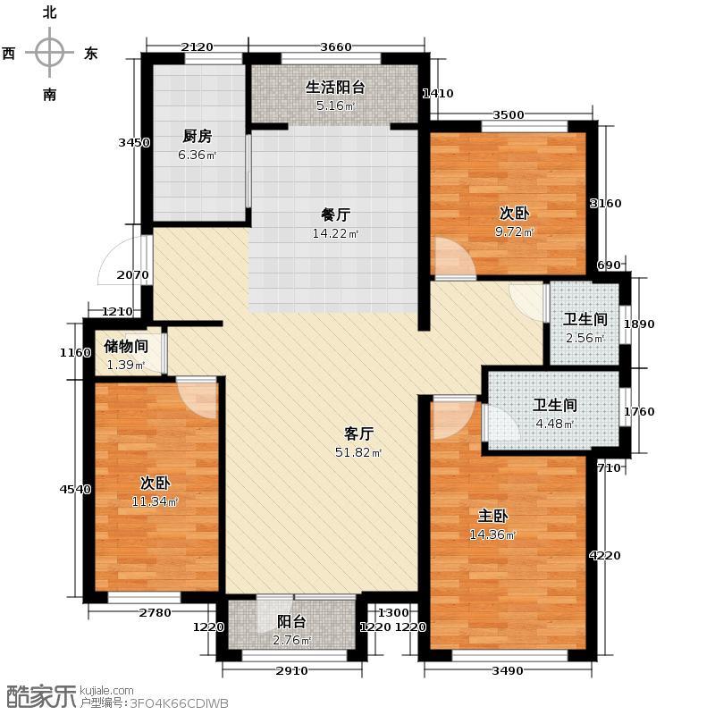 顶秀美泉小镇132.50㎡C区住宅M2双卫户型3室2厅2卫