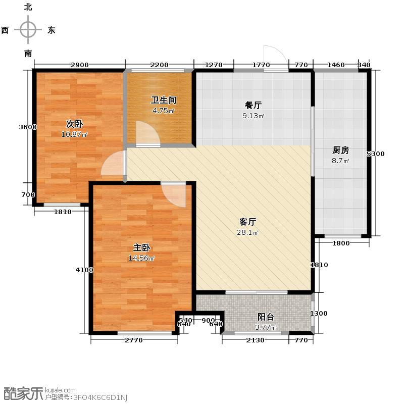 中海寰宇天下87.00㎡B高层户型2室2厅1卫