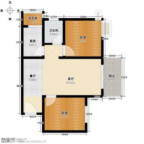 东尚蜂鸟2室2厅1卫0厨81.00㎡户型图