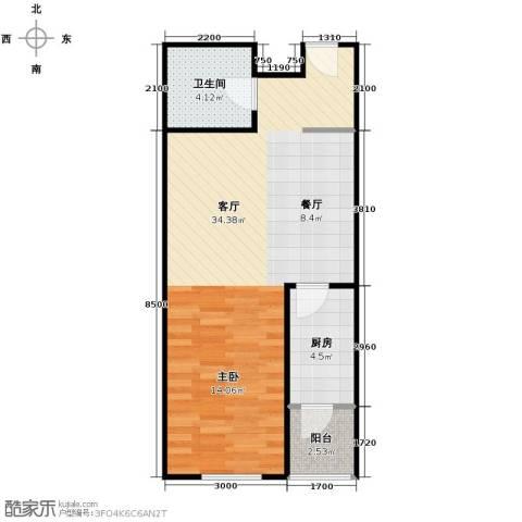 华鸿国际中心1室1厅1卫0厨45.53㎡户型图